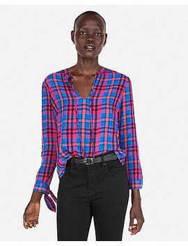 Tie Neck Plaid Popover Top by Express