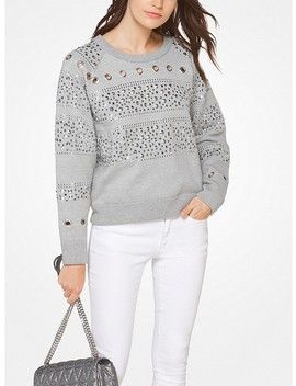 Studded Cotton Blend Sweatshirt by Michael Michael Kors