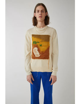 Appliqued Sweater White/Yellow by Acne Studios