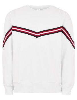 White Chevron Taping Sweatshirt by Topman