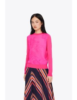 Floral CloquÉ Front Sweater by Tory Burch