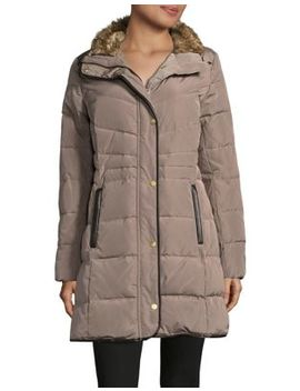 Faux Fur Trimmed Quilted Coat by Cole Haan Signature