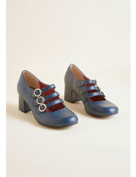 B.A.I.T. Footwear Buckled In Mary Jane Heel In Dark Blue by B.A.I.T. Footwear