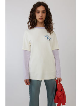 Hippo Print T Shirt Ivory White by Acne Studios