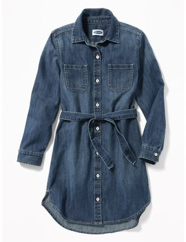 Denim Tie Belt Shirt Dress For Girls by Old Navy