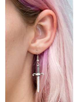 Silver Dagger Charm Earrings by Brandy Melville