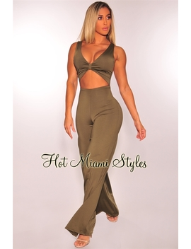 Olive Cut Out Gold Buckle Palazzo Jumpsuit by Hot Miami Style