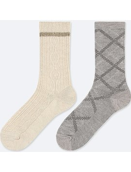 Women Heattech Cable Socks (2 Pairs) by Uniqlo