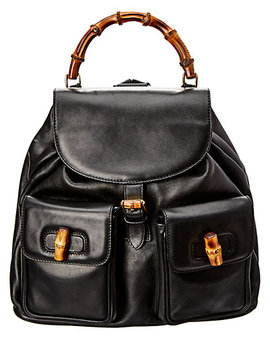 Gucci Limited Edition Black Leather Bamboo Backpack by Gucci