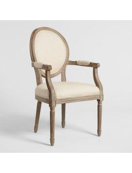 Natural Linen Paige Round Back Dining Armchair by World Market