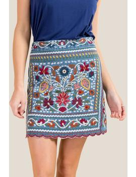 Candice Embroidered Denim Skirt by Francesca's