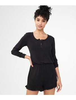 Lld Long Sleeve Henley Romper*** by Aeropostale