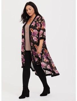 Black Floral Velvet Trim Chiffon Kimono by Torrid