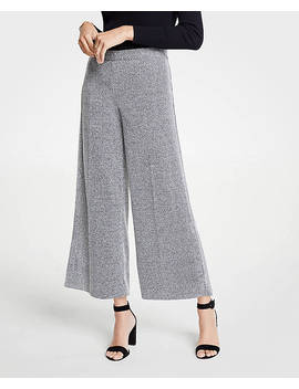 Petite Marled Knit Wide Leg Crop Pants by Ann Taylor