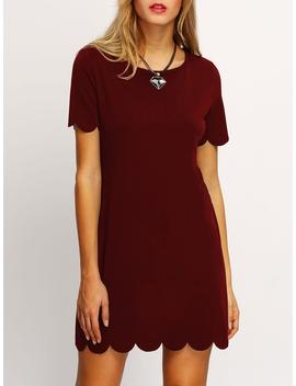 Burgundy Buttoned Keyhole Back Scallop Dress by Romwe