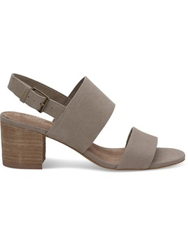 Desert Taupe Suede Oxford Women's Poppy Sandals by Toms