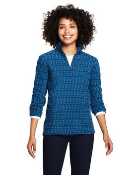 Women's Petite Print Half Zip Fleece Pullover by Lands' End