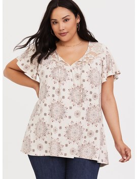 Super Soft Medallion Flutter Sleeve Tee by Torrid