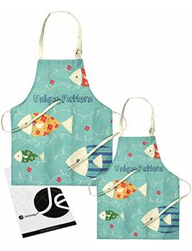 Jav Oedge [Fish Turquoise Mommy And Me Apron Cooking/Baking, W/Pocket, Mother & Daughter [Child + Adults] Matching Set by Jav Oedge