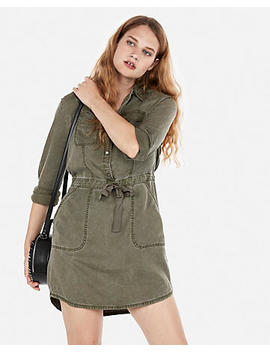 Long Sleeve Utility Shirt Dress by Express