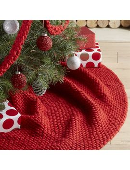 Cozy Weave Red Tree Skirt by Crate&Barrel