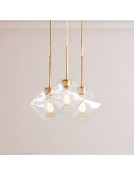 Sculptural Glass Faceted 3 Light Chandelier   Small (Clear) by West Elm