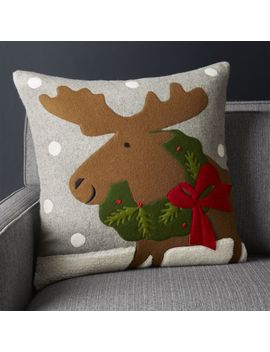 "Holiday Moose Pillow 20"" by Crate&Barrel"