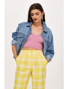 Yellow Check Trousers by Topshop