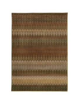 Geometric Brown/ Green Rug by Style Haven