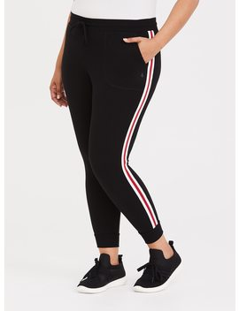 Black Stripe French Terry Active Pant by Torrid