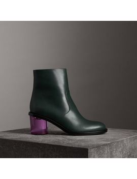 Two Tone Leather Block Heel Boots by Burberry