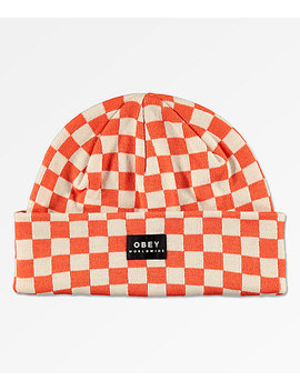 Obey Vernon Orange &Amp; White Checkered Beanie by Obey