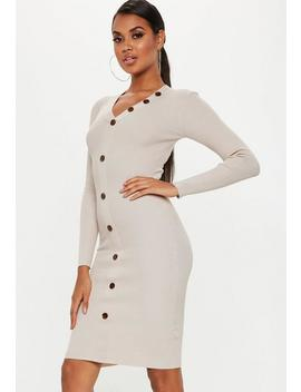 Sand Plunge Button Long Sleeve Knitted Midi Dress by Missguided