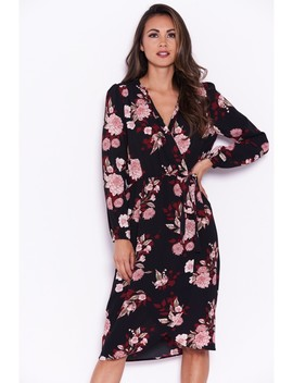 Black Floral Long Sleeve Wrap Dress by Ax Paris