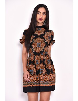 Paisley Skater Dress With Frill Detail by Ax Paris