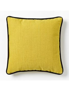 "Outdoor Contrast Trim Pillow, 20""X20"", Citrus Yellow by West Elm"