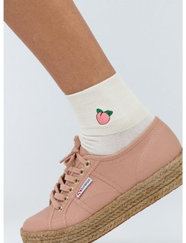 Peach Embroidered Crew Socks by Princess Polly