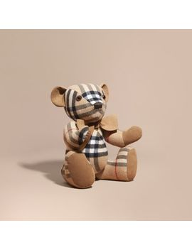 Large Thomas Bear In Check Cashmere by Burberry