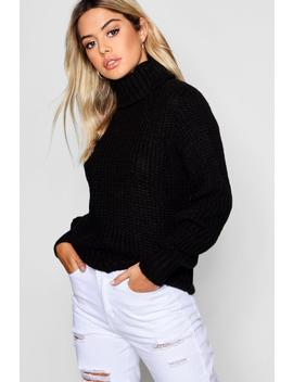 Petite Soft Knit Roll Neck Jumper by Boohoo