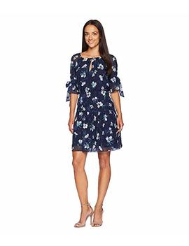 Fit And Flare Dress With 1/2 Sleeves And Bows by Vince Camuto