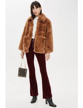 Petite Faux Fur Zip Up Jacket by Topshop