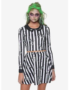 Beetlejuice Striped Collar Long Sleeve Girls Crop Top by Hot Topic