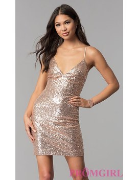 Short Sequin V Neck Homecoming Party Dress by Promgirl