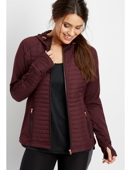 Mixed Media Quilted Transitional Jacket by Maurices