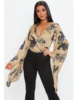 Brown Dragon Wrap Satin Bodysuit by Missguided