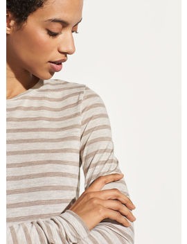 Heather Stripe Long Sleeve Crew by Vince