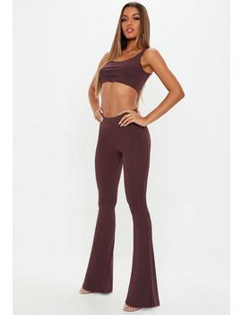 Wine Flared Pants And Bralet Co Ord by Missguided