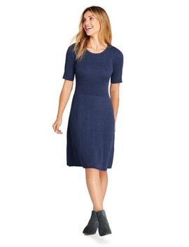 Women's Elbow Sleeve Fine Gauge Rib Sweater Dress by Lands' End