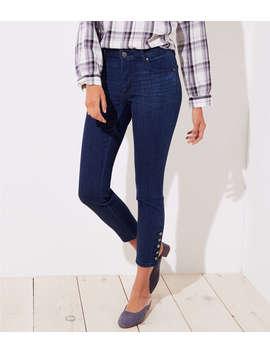 Curvy Button Cuff Skinny Jeans In Rich Mid Indigo Wash by Loft