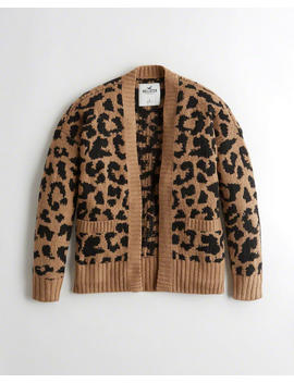 Leopard Jersey Cardigan by Hollister